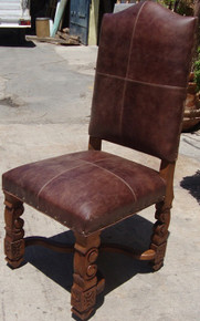 Carved Rustica Leather Chair