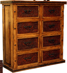 Eight Drawer Tooled Leather Dresser