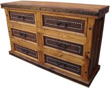 Six Drawer Dresser w/ Stitched Leather