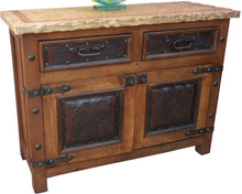 Marble Top Tooled Leather Cabinet