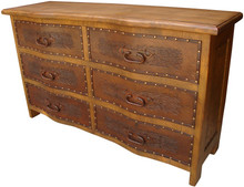 Curved Tooled Leather  Dresser