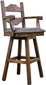 Tuscan 30'' Swivel Leather Seat Barstool w/ Arms -Dr