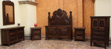 Medallon King w/ Tooled Leather 6pc Bedroom Set
