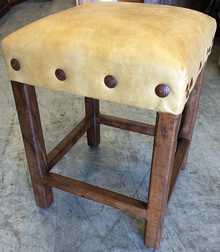 Mesquite Counter Stool w/ Yellow Leather