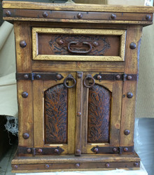Pueblito Tooled Leather Nightstand