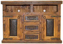 Hacienda 60'' TV Stand w/ Tooled Leather