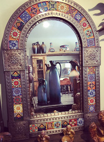 Arched 33'' Tin Mirror w/ Tile