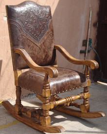 Hacienda Tooled Leather Rocking Chair