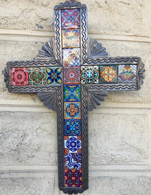 Tin Cross w/ Talavera Tiles