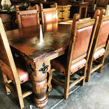 Hacienda Copper Top 72'' 7pc Dining Set