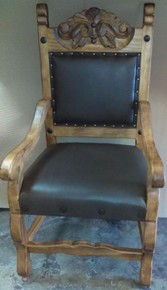 Hacienda Carved Arm Chair w/ Cafe Liso Leather