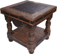 La Paz End Table w/ Tooled Leather