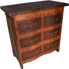 Curved Tooled Leather Dresser w/ Lift Top