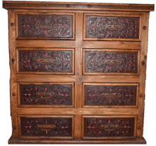 Pedregal Tooled Leather 8 Drawer Dresser