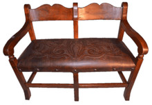 Mesquite Sirca Bench w/ Tooled Leather