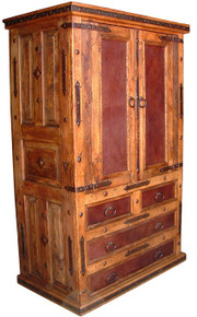 Leather Front Armoire