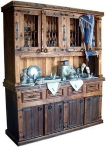 Four Door Kitchen Hutch w/ Iron Doors