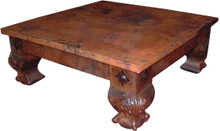 Mesquite Carved Coffee Table w/ Copper Top