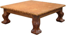 Mesquite Carved Coffee Table w/ Marble Top