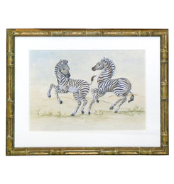 Peter's Zebras Playing - An Original Watercolor
