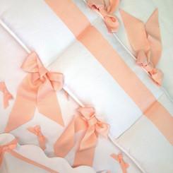 Midori Ribbon Bedding Set in Peach