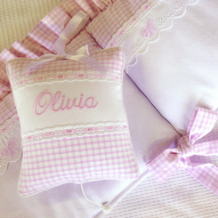 Check w/ Bow Embroidery and Monogram Baby Crib Set