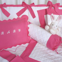 Hot Pink Quilted Baby Crib Set