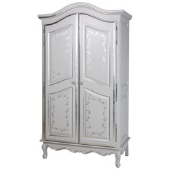 French Armoire in Silver Floral Vines