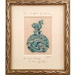 Needlepoint - Aqua Fish Dauber Bottle