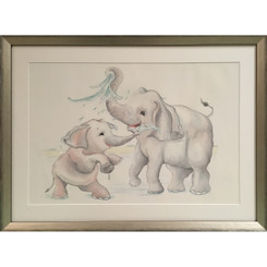 Elephants at Play - Mommy & Baby