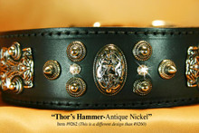 Thor's Hammer Dog Collar in Black Leather and Antique Nickel