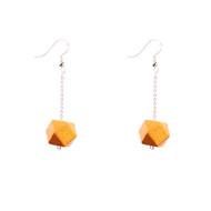 Mon Bijou - Drop Earrings - Gold Geometric Faceted Beads