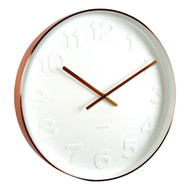 Karlsson Mr White numbers copper rim wall clock - Ø 37.5 x 6 cm