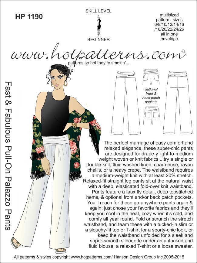 Sew Biased: Hot Patterns Fast and Fabulous Pull-on Palazzo Pants