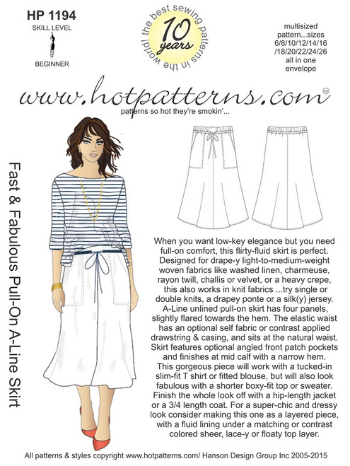 HP 1194 Fast & Fabulous Pull-On A-Line Skirt - HotPatterns.com