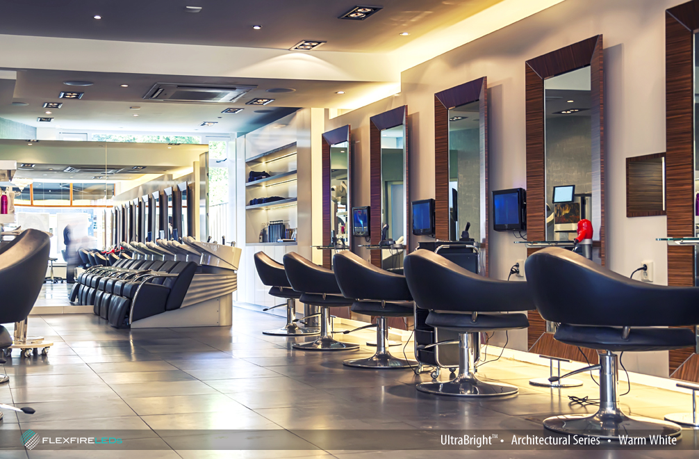 Ultrabright architectural warm white led strip lights - Barber vs hair salon ...