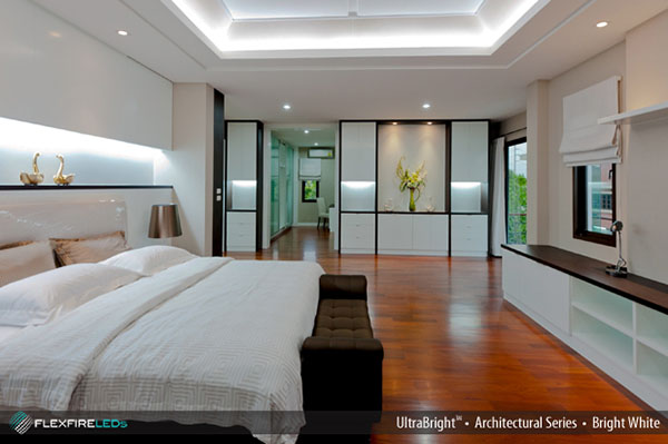 modern indirect lighting with led strip in bedroom