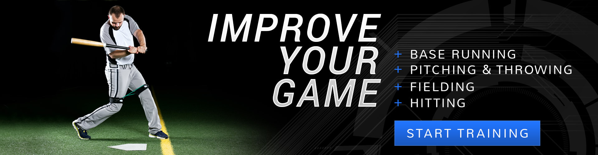 Improve baseball base running speed, pitching, throwing, fielding, and hitting using our resistance training products in your baseball training program.