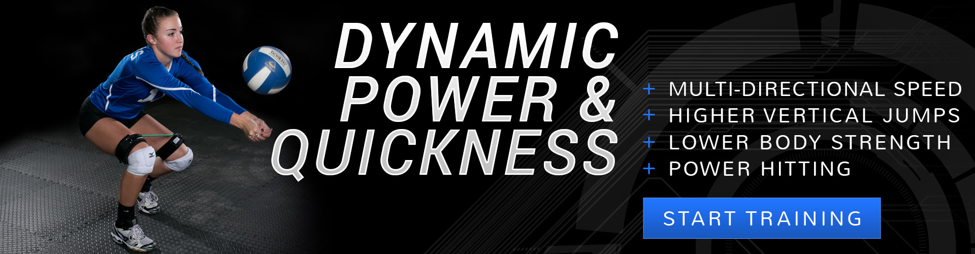 Get dynamic power and quickness in volleyball when you train with Kinetic Bands. Improve multi-directional speed, higher vertical jumps, lower body strength, power hitting. Free athletic stretching strap with the purchase of Kinetic Bands.