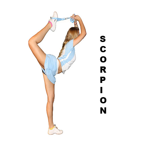 Demonstration of how to perform a cheerleading scorpion using the Flexibility Stunt Strap from Myosource Kinetic Bands