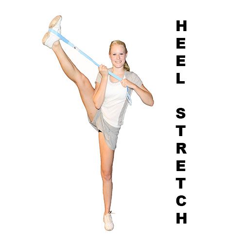 Demonstration of how to perform a cheerleading heel stretch using the Flexibility Stunt Strap from Myosource Kinetic Bands
