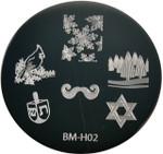 Bundle Monster Image Plate BM-H02: Snowflake, Bird, Jewish (Ships Free, No Min)