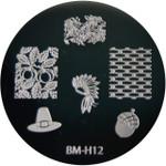 Bundle Monster Image Plate BM-H12: Hat, Acorn, Full Nail, Thanksgiving