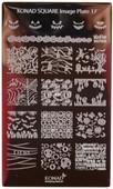 Konad Nail Art Square Image Plate #17: Halloween, Bats, Pumpkins, etc
