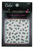 Black &amp; Silver Flowers Nail Decal by Cala