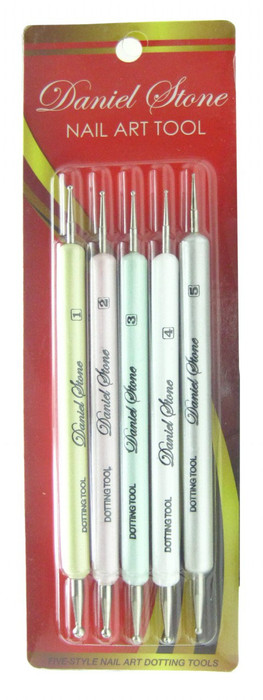 Daniel Stone 5 Piece Colored Nail Dotters, 10 Dot Sizes