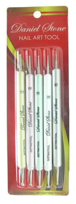Daniel Stone 5 Piece Colored Nail Dotters, 10 Dot Sizes