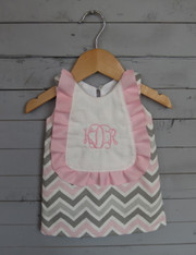 Pink, Grey and White Monogrammed Bib Dress