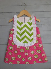Pink and Green Monogrammed Bib Dress
