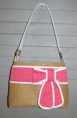 Straw Bucket with Pink Bow